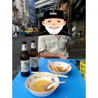 Jimbo likes noodles and beer.