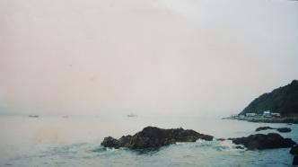 USS Blue Ridge LCC19 on the horizon