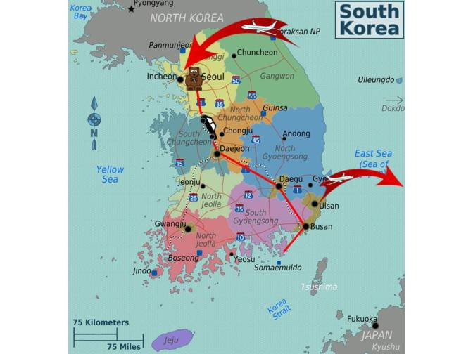 Korean Trip Map