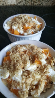 Move to bowls and top with something crunchy