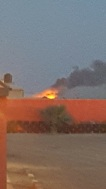 Huge fire in teh desert.
