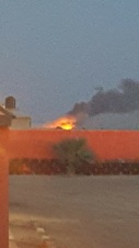 Huge fire in teh desert.